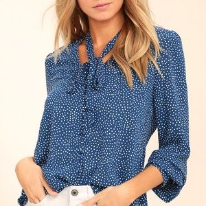 Blue Polka Dot Button-Up Top